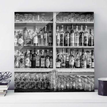 Quadro in vetro - Bar Black White - Quadrato 1:1