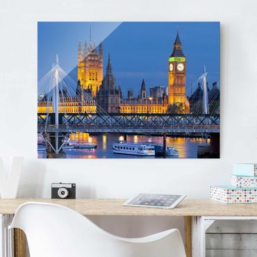 Quadro su vetro - Big Ben and Westminster Palace in London at night - Orizzontale 4:3