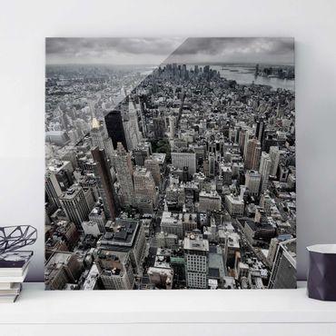 Quadro in vetro - View Over Manhattan - Quadrato 1:1