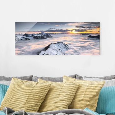 Quadro in vetro - View of clouds and mountains - Panoramico