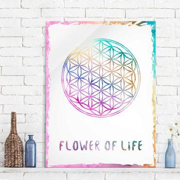 Quadro in vetro - Flower of life watercolor - Verticale 3:4