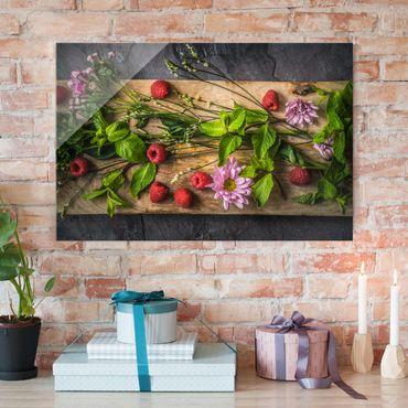 Quadro in vetro - Flowers raspberry mint - Orizzontale 3:2