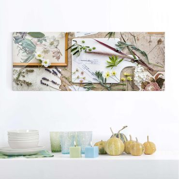 Quadro in vetro - Flowers And Garden Herbs Vintage - Panoramico