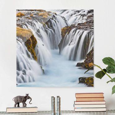 Quadro in vetro - Bruarfoss waterfall in Iceland - Quadrato 1:1