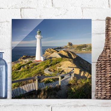 Quadro in vetro - Castle Point Lighthouse New Zealand - Quadrato 1:1