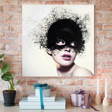 Quadro in vetro - The Girl With The Black Mask - Quadrato 1:1