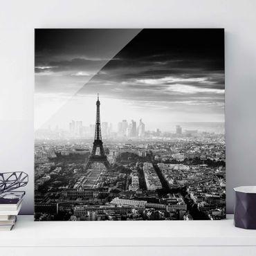 Quadro in vetro - La Torre Eiffel From Above Bianco e nero - Quadrato 1:1