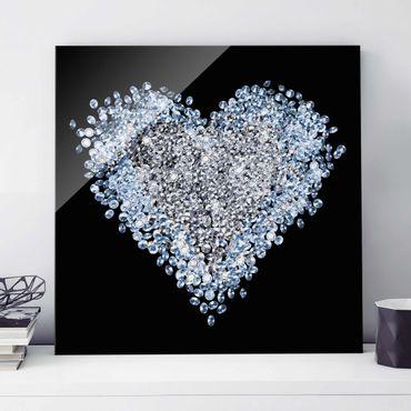 Quadro in vetro - Diamond Heart - Quadrato 1:1