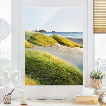 Quadro in vetro - Dune con erba e sabbia al mare - Verticale 3:4