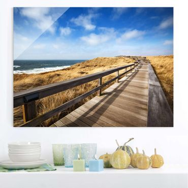 Quadro su vetro - Pathway Through the dunes at the North Sea at Sylt - Orizzontale 4:3