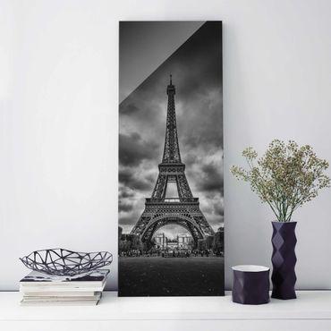 Quadro in vetro - Torre Eiffel Davanti Nubi In Bianco e nero - Pannello