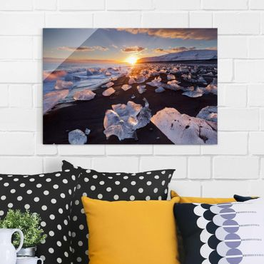 Quadro in vetro - Chunks Of Ice On The Beach Iceland - Orizzontale 3:2