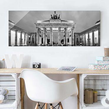 Quadro in vetro - Illuminated Brandenburg Gate II - Panoramico