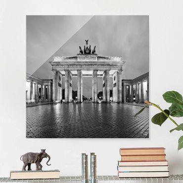 Quadro in vetro Berlino - Illuminated Brandenburg Gate II - Quadrato 1:1