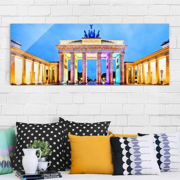 Quadro in vetro - Illuminated Brandenburg Gate - Panoramico