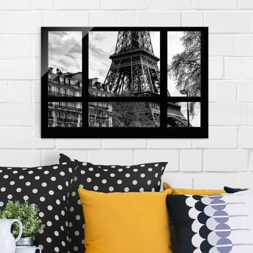 Quadro su vetro - Window view Paris - Near the Eiffel Tower black and white - Orizzontale 3:2