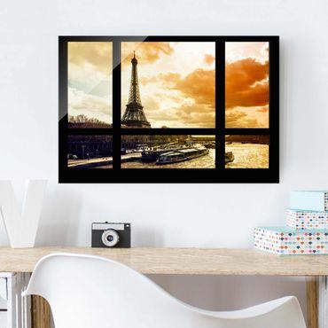 Quadro su vetro - Window view - Paris Eiffel Tower sunset - Orizzontale 3:2