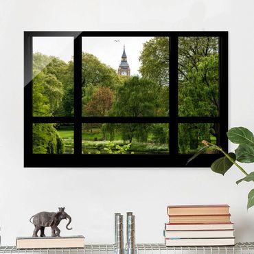 Quadro su vetro - Window overlooking St. James Park on Big Ben - Orizzontale 3:2