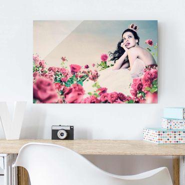 Quadro su vetro - Woman in a field of roses - Orizzontale 3:2
