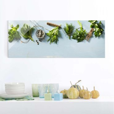 Quadro in vetro - Bundled Herbs - Panoramico