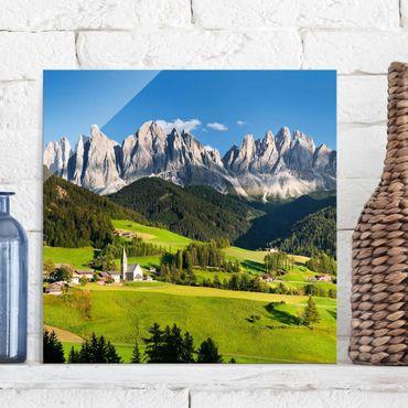 Quadro in vetro - Odle in South Tyrol - Quadrato 1:1