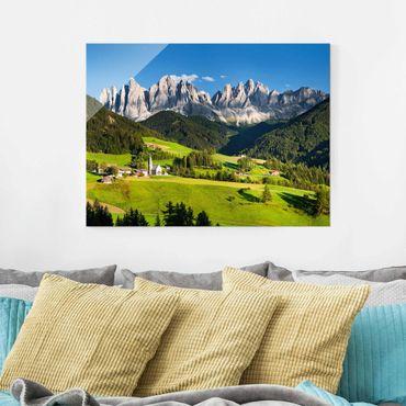 Quadro su vetro - Montagne e vallata in Südtirol - Orizzontale 4:3