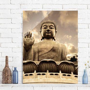 Quadro in vetro - Big Buddha Sepia - Verticale 3:4