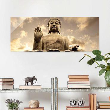 Quadro in vetro - Big Buddha Sepia - Panoramico