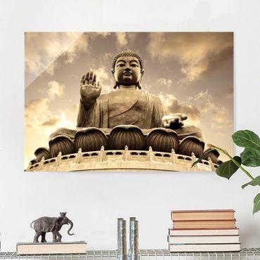 Quadro su vetro - Big Buddha Sepia - Orizzontale 3:2