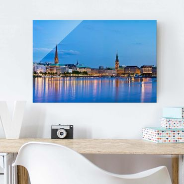 Quadro su vetro - Hamburg skyline - Orizzontale 3:2