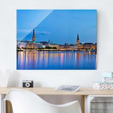 Quadro su vetro - Hamburg skyline - Orizzontale 4:3