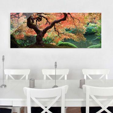 Quadro in vetro alberi - Giardino giapponese - Panoramico