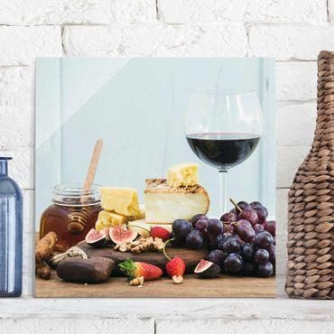 Quadro in vetro - Cheese And Wine - Quadrato 1:1
