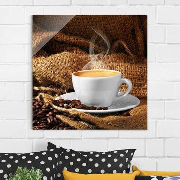 Quadro in vetro - Morning Coffee - Quadrato 1:1