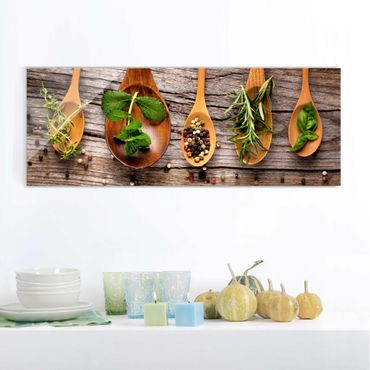Quadro in vetro - Herbs And Spices - Panoramico