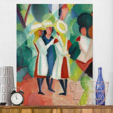 Quadro su vetro - August Macke - Three Girls in yellow Straw Hats - Verticale 3:4