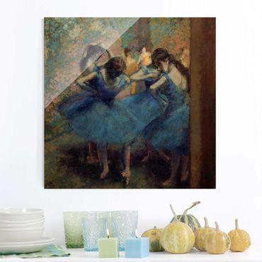 Quadro in vetro - Edgar Degas - Ballerine in blu - Impressionismo - Quadrato 1:1