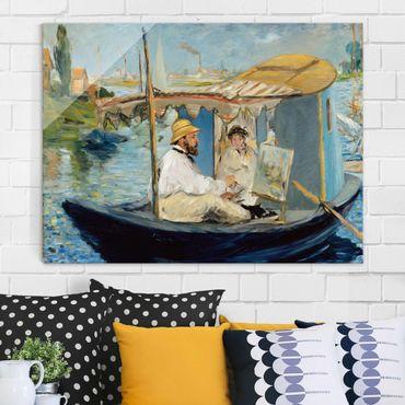 Quadro in vetro - Edouard Manet - Claude Monet painting on his Studio Boat - Orizzontale 4:3