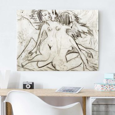 Quadro in vetro - Ernst Ludwig Kirchner - Two young Nudes - Orizzontale 4:3