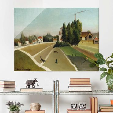Quadro in vetro - Henri Rousseau - Landscape with Factory - Orizzontale 4:3