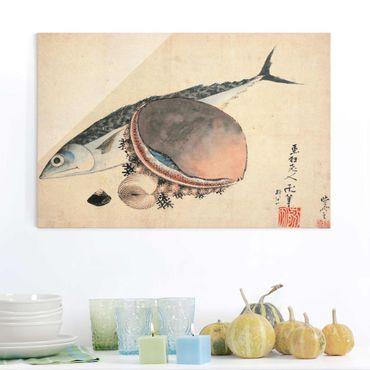 Quadro in vetro - Katsushika Hokusai - Mackerel and Sea Shells - Orizzontale 3:2