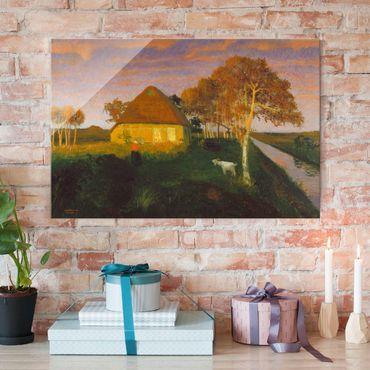 Quadro in vetro - Otto Modersohn - Moor Cottage in the Evening Sun - Orizzontale 3:2