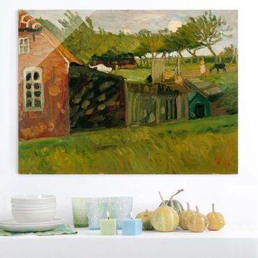 Quadro in vetro - Otto Modersohn - Red House with Stables - Orizzontale 4:3