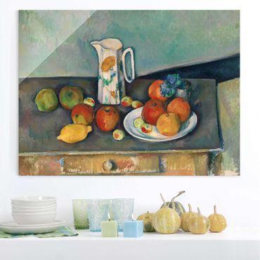 Quadro in vetro - Paul Cézanne - Natura morta con Brocca da Latte e Frutti su un Tavolo - Impressionismo - Orizzontale 4:3