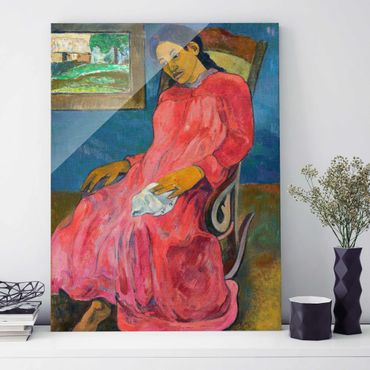 Quadro in vetro - Paul Gauguin - Faaturuma (Donna in Abito rosso) - Post-Impressionismo - Verticale 3:4