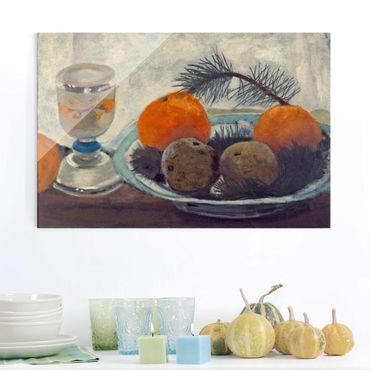 Quadro in vetro - Paula Modersohn-Becker - Still Life with frosted Glass Mug, Apples and Pine Branch - Orizzontale 3:2