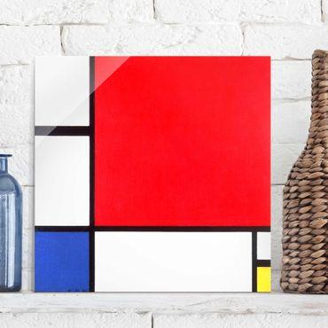 Quadro in vetro - Piet Mondrian - Composition with Red, Blue and Yellow - Quadrato 1:1