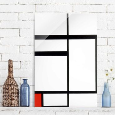 Quadro in vetro - Piet Mondrian - Composition with Red, Black and White - Verticale 2:3