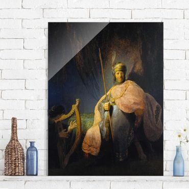 Quadro in vetro - Rembrandt van Rijn - David playing the Harp to Saul - Verticale 3:4