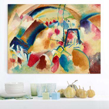Quadro in vetro - Wassily Kandinsky - Paesaggio con Chiesa - Espressionismo - Orizzontale 4:3
